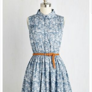 Blue and white floral button up dress with belt